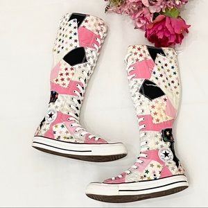 Converse Knee High Pink Patchwork Sneakers 6